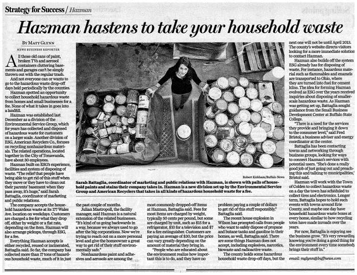 Buffalo News - August 2012 on Hazman